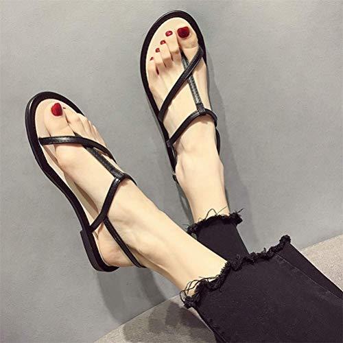 QLIGHA Moda Zapatos Planos de Cuero de PU Sandalias Sexis de Verano para Mujer Sandalias de juanete de corrección, Chanclas con Punta de Clip Sandalias Ajustables para, Negro, 38