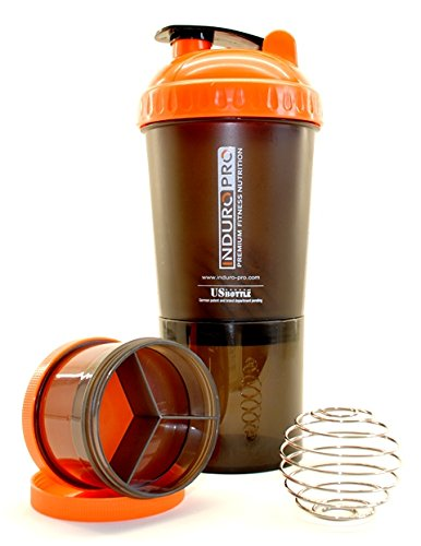 Induro Pro - Power Shaker - Eiweißshaker - 600ml - Pillbox - US Bulletball - schwarz / orange