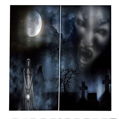 FACWAWF Halloween 3D Thriller Tridimensional Casa Embrujada Cortinas Tema De Terror Decoración De La Habitación Fondo Sala De Estar Dormitorio Balcón Cortinas Opacas 2xW117xH138cm