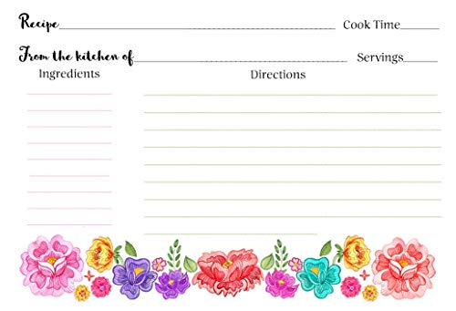 Fiesta Recipe Cards Floral Bridal Shower Taco Bout Love Taco 'Bout Recipes Exchange Cookie Swap Housewarming Keepsake Gift Idea Kitchen Organization Wedding Party Pink Purple Red Green (24 count)