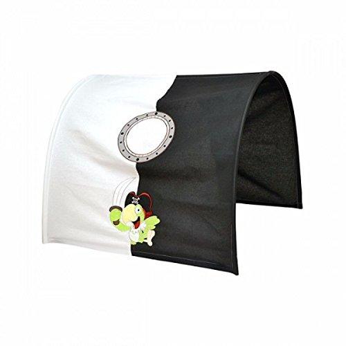 XXL Discount Tunnel voor hoge en stapelbedden, motief: Piraten, kleur: zwart/wit