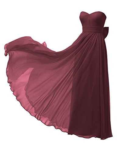 Alicepub Strapless Chiffon Bridesmaid Dress Long A-Line Party Prom Gown Maxi Dress, Burgundy, US12