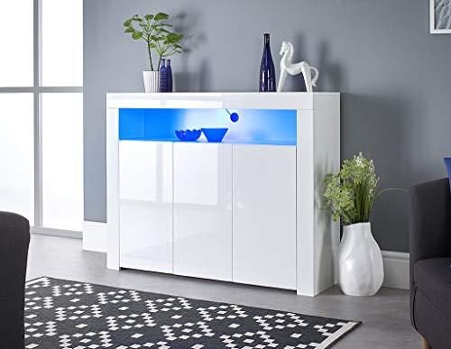 MMT Furniture Designs Ltd SIB-04 - Credenza da buffet a 3 ante, con strisce LED, larghezza 116 cm, colore: Bianco opaco e lucido