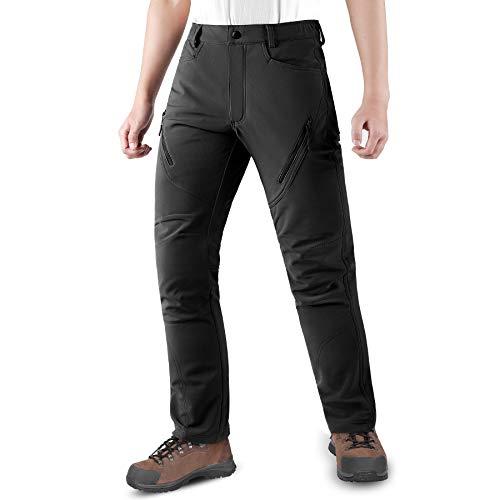 KUTOOK Pantalones Trekking Hombre Softshell Impermeables y A Prueba de Viento Transpirables Cálidos Pantalones Invierno con Forro Polar para Montaña Escalada Running(HP015)