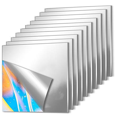 10 Piezas Espejos de Pared Adhesivos, EONAZE Cuadrado Acrílico para Espejo Creativo de Empalme de Pared, Espejo Decorativos Flexible Autoadhesivo de Pared Sin Marco (15 x 15cm)