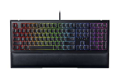 Razer Ornata V2 Gaming Keyboard: Hybrid Mechanical Key Switches - Customizable Chroma RGB Lighting - Individually Backlit Keys - Detachable Plush Wrist Rest - Programmable Macros