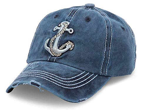 Cappellino con Visiera | Berretto da Baseball | Blu | Uomo | Donna | Cottone | Stile Trucker | Jeans | Slavato | Taglia Unica per Adulti | Vintage