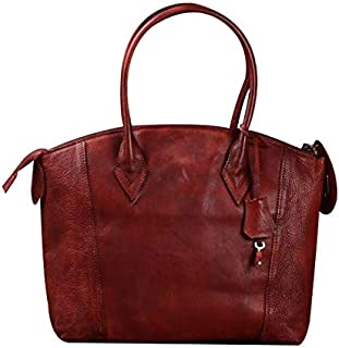 FYXKGLa Women's Vegetable Tanned Cowhide Belt Lock Handbag Handmade Retro Shoulder Bag Fashion Messenger Leather Handbag (Color : Rose)