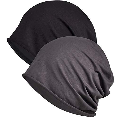 WELROG Chemo Hat Mütze für Frauen Kopftuch Superweicher Slouchy Turban Kopfbedeckung Kopfwickel Chemo Headgear Head Wraps Schlafhut gegen Krebs und Haarausfall Schwarz + Dunkelgrau (Einschichtig)