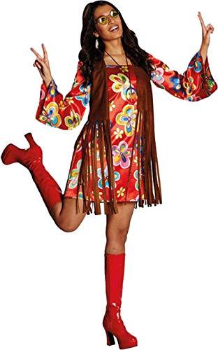 Hippie Kostüm Nancy Größe 42 buntes Kleid mit brauner Weste Flower Power Party 70er Jahre (42)