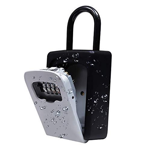 Schlüsseltresor - Wetterfest Tragbare Schlüsselsafe mit 4-Stellige Zahlencode Außen - Rücksetzbarer Code Hängend & Wand Befestigung Schlüsselbox für Ersatzschlüssel Box, Haus, Garagen, Schule