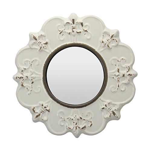 Stonebriar Decorative Round Antique White Ceramic Wall Mirror, Vintage Home Décor for Living Room, Kitchen, Bedroom, or Hallway, French Country Decor