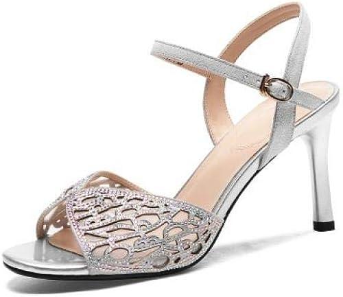 Femmes Sandales été ajouré Mode Diamant Chaud Boucle Sauvage en Peau de Mouton Stiletto Sandales à Talons Hauts