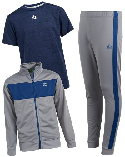 RBX Boy's Activewear Tracksuit Set - Zip-Up Performance Sweatshirt, Jogger Sweatpants, and T-Shirt, Size 8, Heather Grey