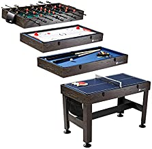 "MD Sports Table Tennis, Slide Hockey, Foosball, Billiards, 54"" 4-in-1 Combination Game Set with side Lock Clips - Quick Set-Up, Interchangeable, Fully Equipped, Model Number: CBF054_058M"