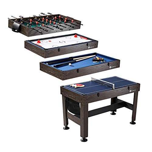 "MD Sports Table Tennis, Slide Hockey, Foosball, Billiards, 54"" 4-in-1 Combination Game Set with side Lock Clips - Quick Set-Up, Interchangeable, Fully Equipped"