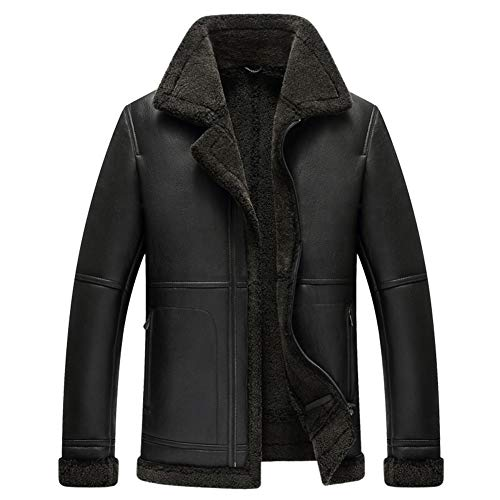 Chaqueta de piel de oveja para hombre, diseño de solapa, para motocicleta, color negro, S