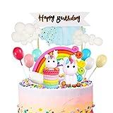iZoeL Kit Decoración Para Tarta Unicornio Globo Arcoíris En Nube, Pancarta Feliz Cumpleaños, Decoración Para Tartas, Paquete 12 Para Niños, Niñas, Cumpleaño