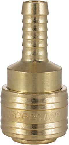 Poppstar Conectores rapidos aire comprimido (hembra), diámetro nominal 7,2 mm con conector (macho) para manguera con Ø interior 9,5mm