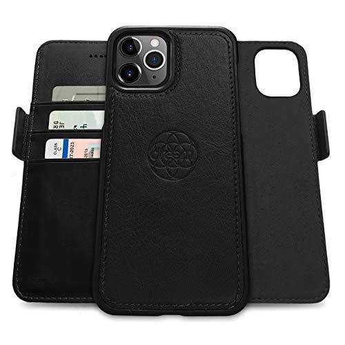 Dreem Fibonacci 2in1 Handyhülle Flipcase für iPhone 12 und 12 Pro | Magnetisches iPhone Hülle | TPU Etui Lederhülle Schutzhülle, RFID Schutz, Veganes Kunstleder, Geschenkbox | Schwarz