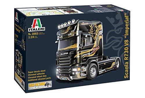 Italeri 553883 510003883 Scania R730 V8 Topline Imperial – hochdetaillierter Modellbausatz, inkl. Aufkleberbogen, unbemalt, Showtruck, 24,7 cm lang