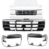 New Front Grille Chrome Shell & Primed Insert + Head Light Trim Door Right Passenger & Left Driver Side For 1992-1996 Bronco / 1992-1997 Ford F-150 F-250 F-350 Direct Replacement F4TZ8200A F2TZ13064C