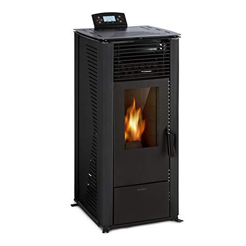 Waldbeck Energiewende - Caldera Estufa pellet sin humo, 5/10kW, 5 potencias, 5 velocidades, capacidad 18kg, consumo estufas de pellets 0,6-2,0kg/h, para 60-250 m³, panel de control con pantalla, Negro