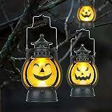 Kürbis Licht, 3 Stück Halloween Laterne mit LED Kerze, Kürbis Laterne Teelichter Batterie LED Kürbis Licht Vintage Laterne Nachtlicht Tragbare Kürbis Lichter für Halloween Deko - 6