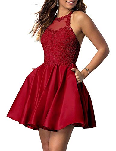 NaXY Juniors Halter Sleeveless Applique Beaded Short Homecoming Dresses with Pockets Burgundy Size18W