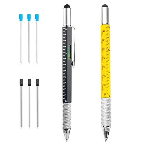 6 IN 1 Penna multifunzione, Yolistar 2pcs Penna Multifunzione Utensili Fai Da Te, auguri papà utensili fai da te regali per lui compleanno ferramenta bricolage
