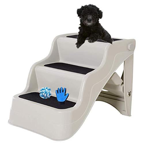 ZYQ Escaleras para Perros, rampa para Perros Plegable de 3 Pasos, escaleras para Animales, escaleras para Gatos, ayudas de embarque para Perros, plástico, 37 cm de Altura