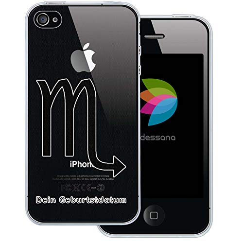 dessana sterrenbeeld met datum transparante silicone TPU beschermhoes 0,7 mm dunne mobiele telefoon soft case cover tas voor Apple, Apple iPhone 4/4S, Schorpioen verjaardag.