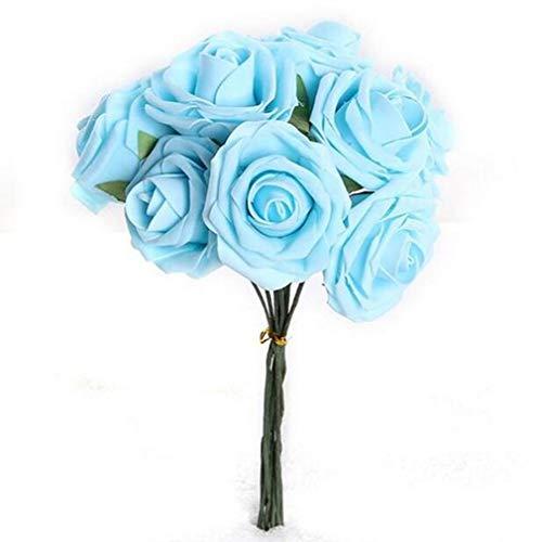 Mazzo di 10 Schiuma Rosa boccioli di Rose Blu Fiori Artificiali Decorazioni di Nozze in Seta Finta, Bule