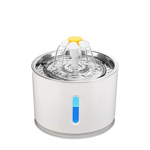 NA Pet Cat Fuente de agua de acero inoxidable, LED 81oz/2.4L dispensador automático de agua para mascotas con 3 filtros de repuesto y 1 alfombrilla de silicona para gatos, perros, múltiples mascotas