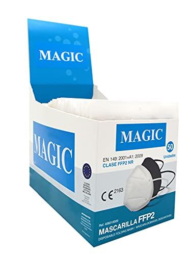Mascarilla FFP2 Homologada Certificado CE 2834-5 capas - Caja Expositor 50 Unidades COLOR NEGRO + 5 Botes de gel hidroalcohólico