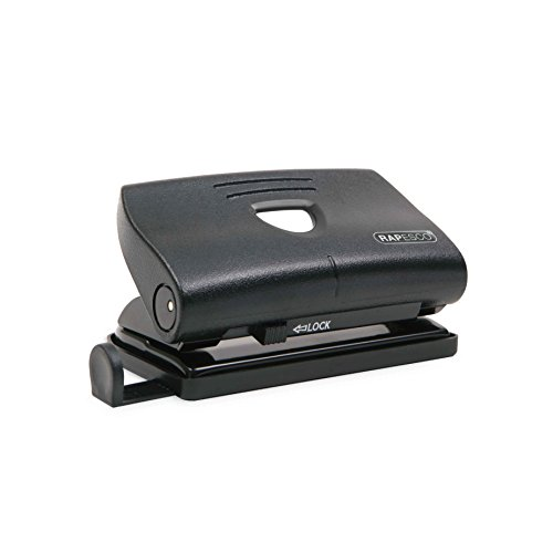 Rapesco 810-P - Perforadora de 2 agujeros, 12 hojas de capacidad, color negro
