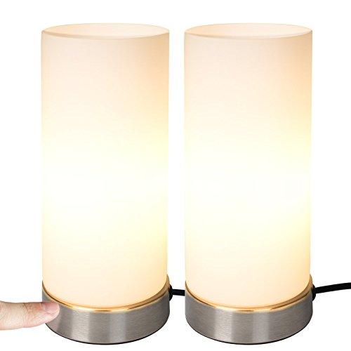 Jago® Tischlampe mit Dimmer Touchfunktion - EEK: A++ bis E, 2er Set, E14, dimmbar - Nachttischlampe, Nachttischleuchte, Bürolampe - für Wohnzimmer, Schlafzimmer, Kinderzimmer