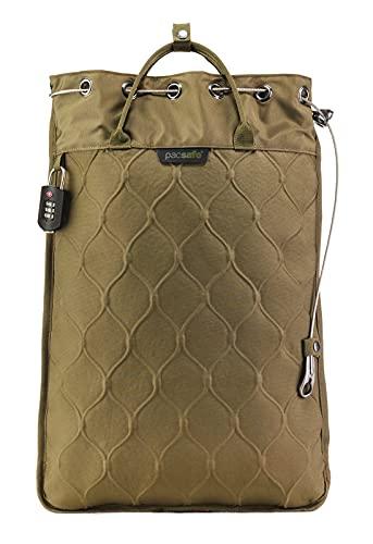 Pacsafe Travelsafe 12L - Mobiler Safe mit TSA-Zahlen Schloß, Trage-Tasche mit Anti-Diebstahl Technologie, 12 Liter Volumen, Braun/Utility