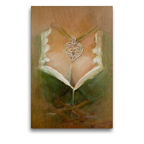 Premium Textil-Leinwand 50 x 75 cm Hoch-Format Holz vor der Hütt´n | Wandbild, HD-Bild auf Keilrahmen, Fertigbild auf hochwertigem Vlies, Leinwanddruck von Brigitte Kaul