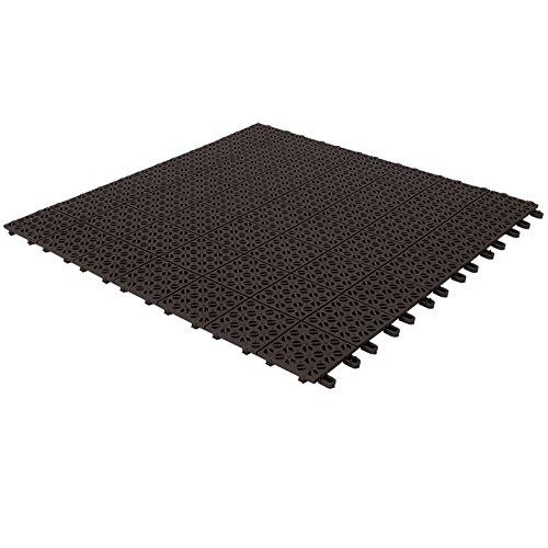 Multiplate Piastrelle Flessibili in Plastica 55,5 x 55,5 cm da Interno, Esterno e Giardino, Nere, Drenanti e Autobloccanti Pezzi 4