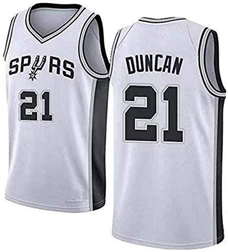 CXJ Jerseys del Baloncesto Masculino, San Antonio Spurs # 21 Tim Duncan Jersey, Bordado De Malla Ventilador Unisex Sin Mangas Jerseys,A,M(170~175CM/65~75KG)
