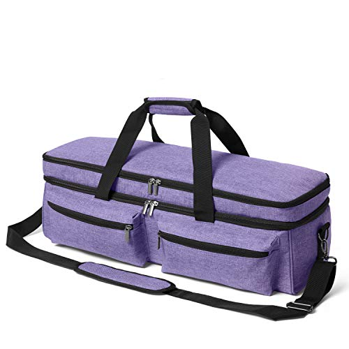 Yarwo Double Layers Carrying Case with Bottom Board Compatible with Explore Air 2, Maker, Craft Storage Tote Bag with Pockets for Die Cut Machine and Supplies, Purple, Bag Only