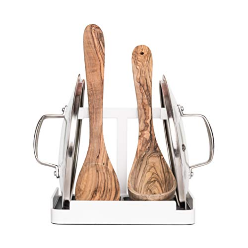 Sams Pot Lid Holder - Pot Lid Stand and Utensil Holder while Cooking White