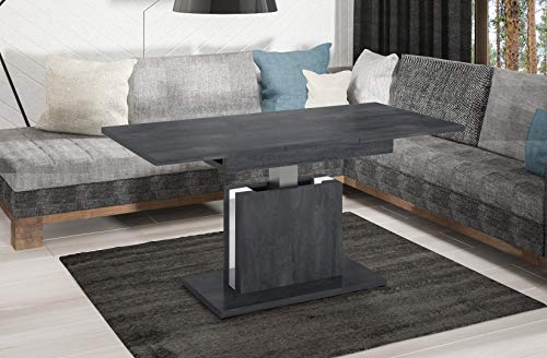 Endo-Moebel Couchtisch Lira höhenverstellbar erweiterbar ausziehbar 110cm - 140cm Tisch (Beton dunkel)