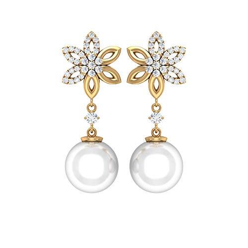Rosec Jewels - Pendientes de diamante HI-SI de 0,32 quilates, 12 quilates, 9 mm, perlas de agua dulce 10K Oro amarillo, Par