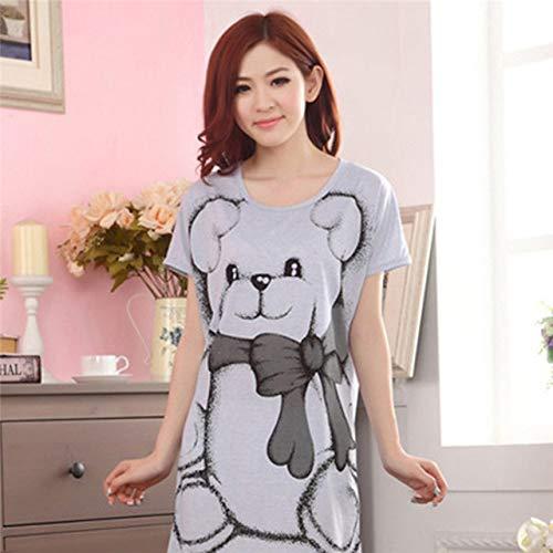 HUANSUN Vestido de Noche con Estampado de Oso de Dibujos Animados 2021 Nuevo camisón de Mujer Camisón Delgadode Manga Corta Camisón camisón Ropa de Dormir, Gris, XL