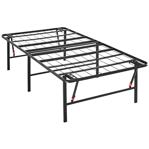 AmazonBasics Foldable Metal Platform Bed Frame 18 Inch Height for Under-Bed Storage - Tools-free Assembly, No Box Spring Needed - Twin
