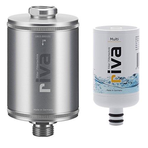 riva Filter Duschfilter Set Multi Wasserfilter - Zertifizierter Schutz vor Legionellen, Bakterien und Keimen in Küche und Bad, Silber