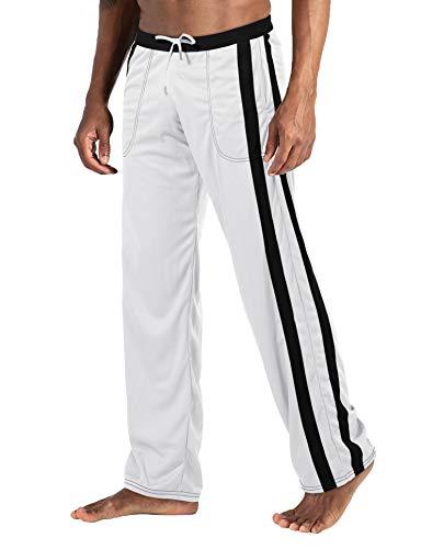 EKLENTSON Herren Mesh-Trainingshose Jogginghose Sporthose Loose Fit Freizeit Leichte Atmungsaktiv (Weiß, 32)