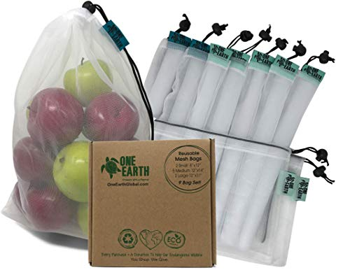 One Earth Global Premium Reusable Produce Bags ~ Complete Set of 9 Heavy Duty Double Stitched Strength Eco Friendly Reusable Mesh Produce Bags ~ Perfect For Vegetables Fruits Toys Laundry